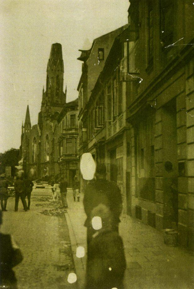 Remberti-Kirche im Moment der Sprengung 1944, Quelle: W. Meier