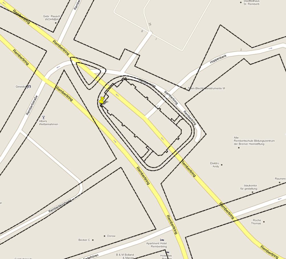 Rekonstruktion des historischen Standorts der Rembertikirche von 1871 nach einem Bremer Stadtplan von 1914. Quelle: Google Maps / SuUB Bremen / Jürgen Amthor 2011