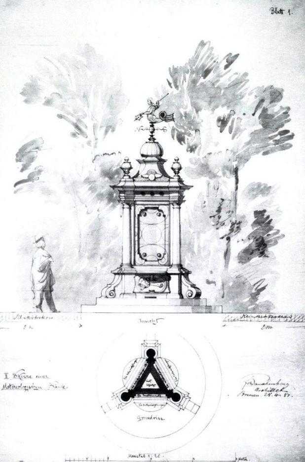 Aquarelierter Entwurf von Friedrich Wilhelm Rauschenberg, 28. April 1981 | Quelle: Naturwissenschaftlicher Verein zu Bremen